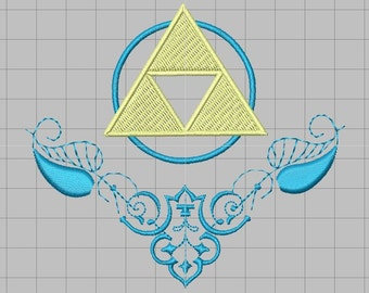 Zelda Fancy Embellished Triforce Machine Embroidery design