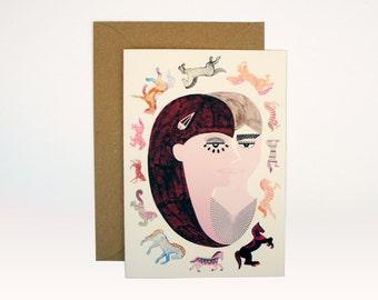 Dizzy Horses Card (A6)