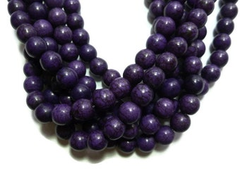 Purple Howlite - 10mm Round Bead - Full Strand - 42 beads - Grape - Violet- Eggplant - Synthetic Turquoise