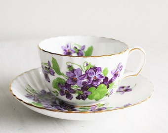 Adderley Teacup and Saucer / Purple Violets / Vintage Tea Cup