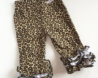 Ruffle Capris - Leopard print knit ruffle capris sizes 6m to girls 8 - Free Shipping