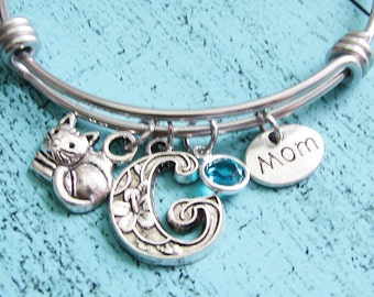 cat mom jewelry, Mothers Day gift for cat mom bracelet, cat lover, pet gift, cat gift, personalized cat bracelet, cat jewelry, love cat