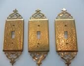 Reserved for Deboyland Vintage Hollywood Regency Gold Light Switch Plates