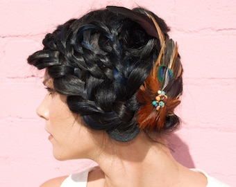 Fascinator - Rooster Feathers - Cruelty Free - Natural Stones