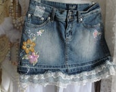 Jean skirt, lace, upcycled, boho, bohemian, gypsy, hippie, shabby chic