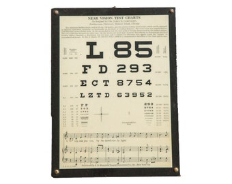 Antique Eye Chart Near Vision Exam Plaque