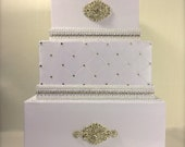 Private Listing for Lauren - Custom White Classic Wedding Card Box with Monogram Name Wedding Date Plate - Middle Tier