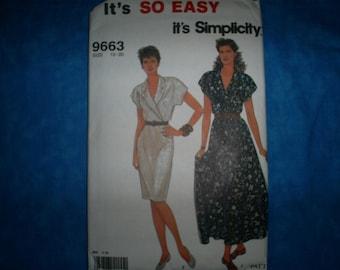 Simplicity 9663 Miss Size 10-20 Dress,