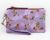 Clearance SALE - Wristlet Purse, Small Clutch, Zipper Wallet, iPhone Wristlet, Gift idea, Gadget Case, Padded - Purple Leaf