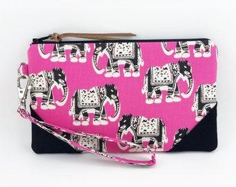 Elephants iPhone Wristlet Purse, Zipper Wallet, Gadget Case, Small Clutch Purse, Gift idea, Pink