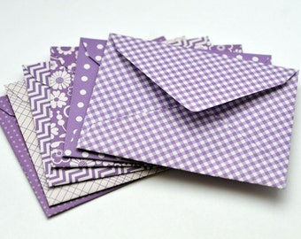 Purple Patterned Envlopes, Set of 6, Blank Cards, Enclosure Cards, Gift Card, Favor Card, Advice Card, Guestbook Alternative
