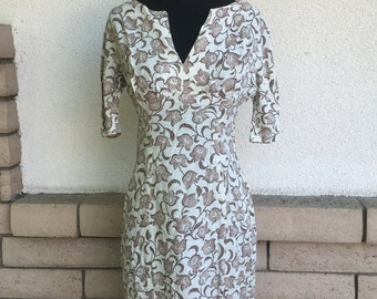 60's Linen Earth Tone Print Wiggle Dress Size Small