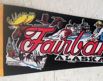 Vintage Fairbanks Alaska Pennant Souvenir Denali National Park Vintage Home Decor
