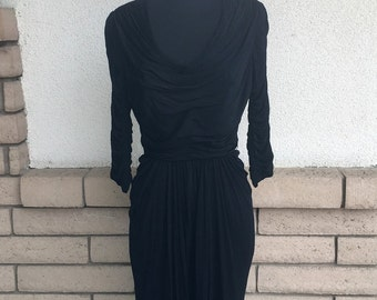 50s Ruched Bombshell Little Black Dress by Talmack of New York Size Small
