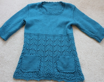 Cute blue handknit girl's dress / tunic 12 - 13 yrs
