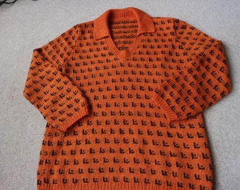 Hand knitted burnt orange funky sweater L