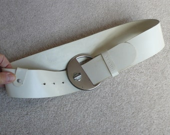 Wide leather white belt Diesel chunky silver metal buckle Made in Italy 30-32