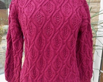 SALE 30% off Beautifully hand knitted deep pink sweater