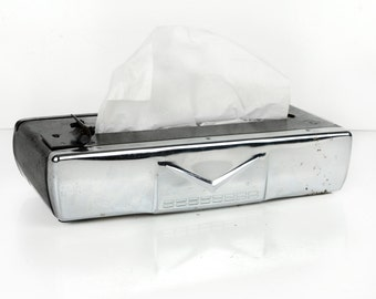 chevrolet, car tissue dispenser, 1950s, mid century, chrome, Chevrolet V logo, metal, black, car accessory, vintage Chevrolet, under dash