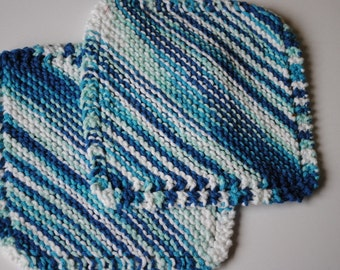 Set of 2 Cotton Dish Cloths, Blues and Teals and White, 100% cotton, biodegradable, green, environmentally friendly