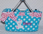 Personalized Easter basket Baby Basket Bucket Monogrammed  Aqua Blue Polka Dot  Small Market Tote Baby Shower Gift Appliqué Bunny Ribbon Bow