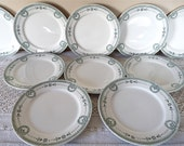 10 French Plate - French Antique Dessert plate Digoin EMPIRE Style  - French Dinner French Transfareware