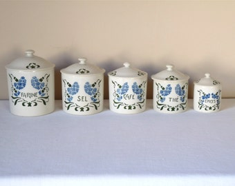 1930 French Antique Canister Porcelain Art Deco - french kitchen - french Country French Antique Porcelain