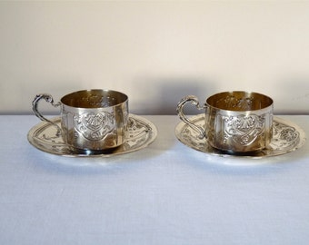 French vintage Coffee Cup Silver-plated metal, two cups two Saucers