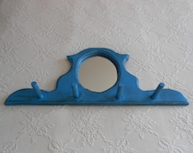 Rustic Farmhouse Mirror Peg Rack - Grungy Country Hat Rack - Jewelry Organizer With Oval Mirror - Distressed in Turquoise