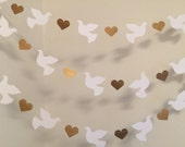 Christening Garland - Gold & White Dove Baptism decorations - Wedding Garland - Religious Baby Dedication Decor - Your Color choice
