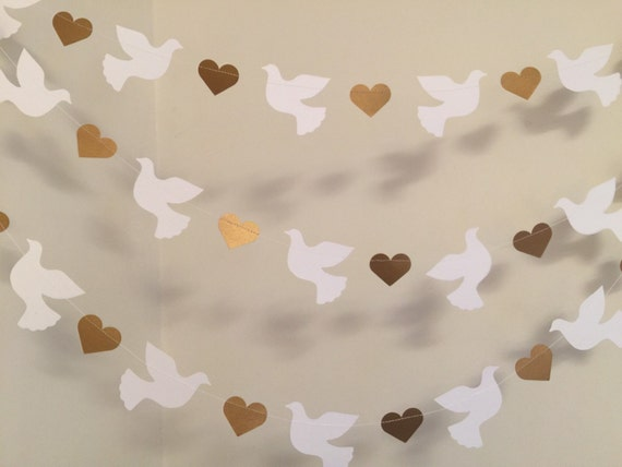 Christening garland gold white dove baptism for Baby christening decoration