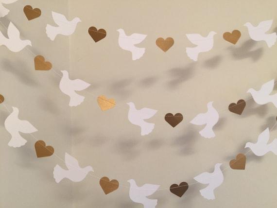 Christening garland gold white dove baptism for Baby dedication decoration