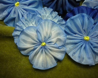 Pile Of Pansies Blue Shades Ribbon Flower Appliques Millinery