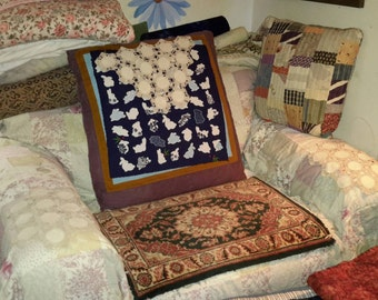 Chair Set Crocheted Cotton & Linen Circles Head Arm Protectors Formal Antique Living Room by AntiquesandVaria