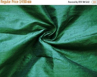 15% Off Fat quarter of  green with a tinge of ink blue 100 percent pure  dupioni silk