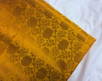 One yard  of lovely  Yellow with Gold Silk Brocade in a flower pattern