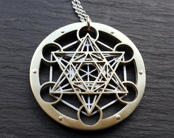 Large Metatron's Cube Pendant - triple layer 14 ct gold and sterling silver - Handcrafted Sacred Geometry Jewellery