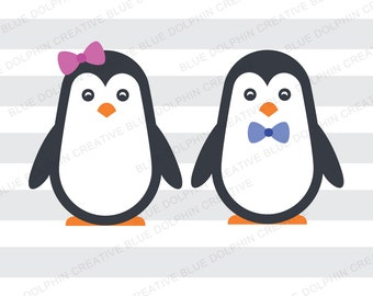 Boy and Girl Penguins SVG DXF png pdf jpg ai / Penguin cut file / Cricut, Silhouette cutting files / instant download
