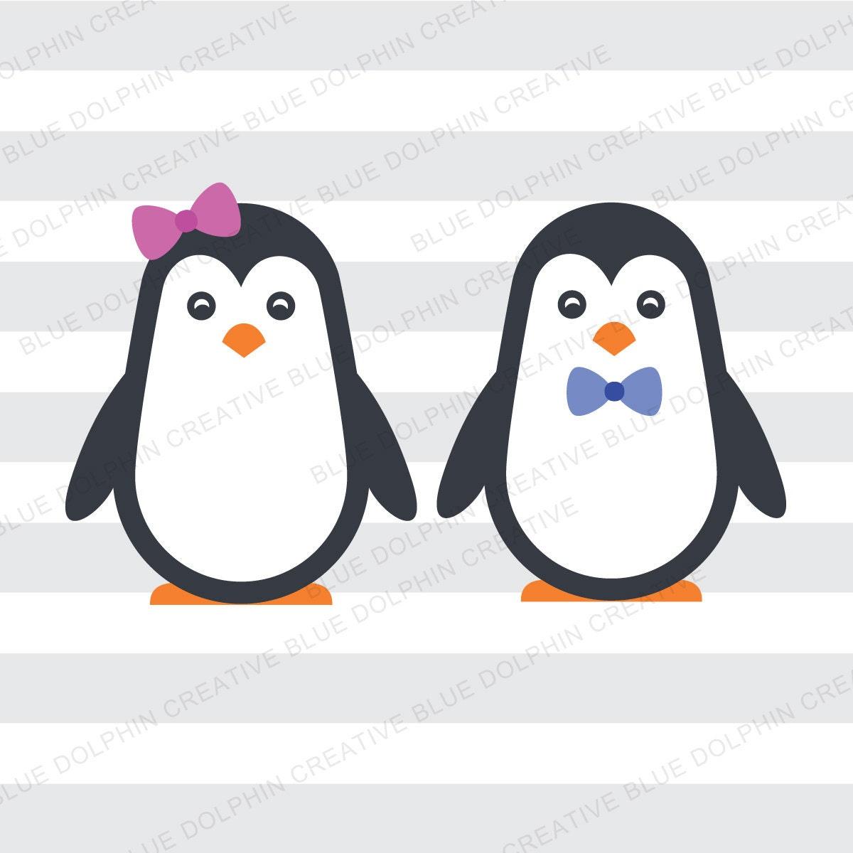 Boy And Girl Penguins Svg Dxf Png Pdf Jpg Ai Penguin Cut