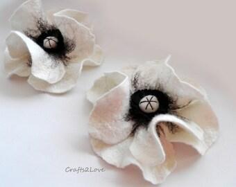 White Poppy. Felted wool flower, brooch, pin, felt poppy, wool and leather. Cream white, milk white, natural off white.