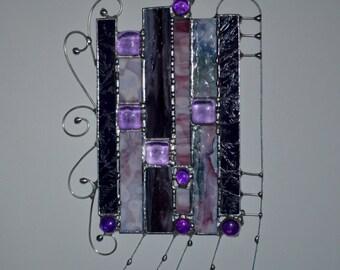 Purple - Sun Catcher - Panel - Modern - Design - Window Curtian - Home Decor - Stained Glass - Curtian - Hippie Art - Custom - Glass Art