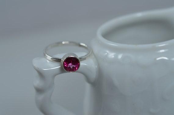 Sterling Silver Gemstone Ring - 6mm Hot Pink Blush Topaz Ring - Stacking Birthstone Ring