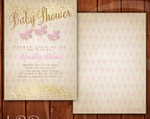 Pink and Gold Baby Shower Invitation Carousel