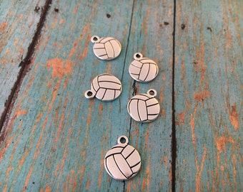 Silver Volleyball Charm,Tierracast VOLLEYBALL Drop Charm, Tierra Cast Silver Plated Pewter Sports Charm, Lead Free, Made in USA
