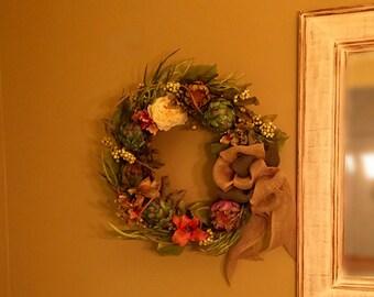 Artichoke Wreath Silk Floral Wreath Artichoke Flower Lily Berry Peony Hydrangea Wreath Silk Floral Arrangement Rustic Wreath Artichoke decor