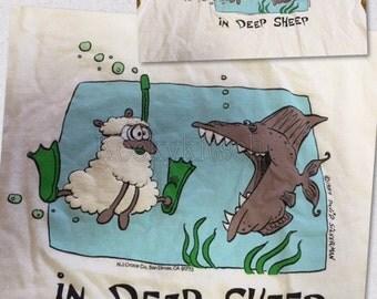 Vintage 1987 David Silverman Novelty T-Shirt DEEP SHEEP Underwater Fish and Sheep Gag top  Made in USA Extra Large kitschy fun