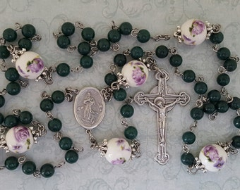 Assumption of Mary Rosary, Dark Green Mountain Jade, Lavender Porcelain Beads, Miraculous Medal, Strong, Stainless Steel, Gemstone Rosary