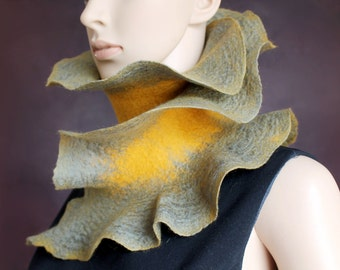 Handmade felted ruffle scarf - Mustard and green scarf - Neck warmer - Ready to ship