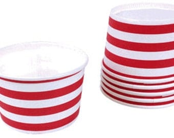 Red & white stripe ice cream cups treat cups  Set of 12