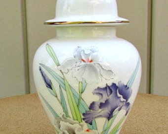 vintage 80s otagiri iris bouquet covered ginger jar japan gold gilt